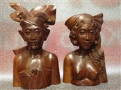 HAND CARVED WOOD Collectible Plate/Figurine BALINESE WOOD COUPLE